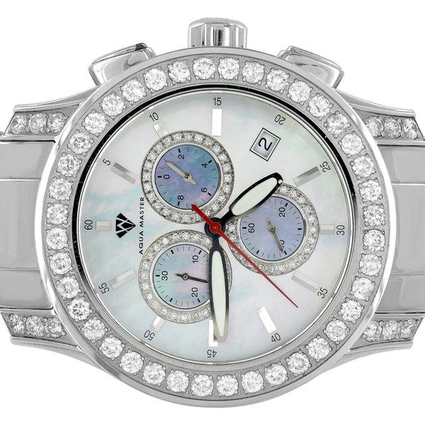 Stainless Steel Watch Genuine Diamond Bezel Aqua Master 5.0 CT Custom Mens