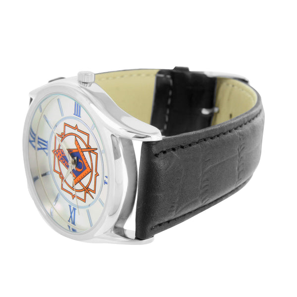 Freemason Dial Mens Watch Leather Band