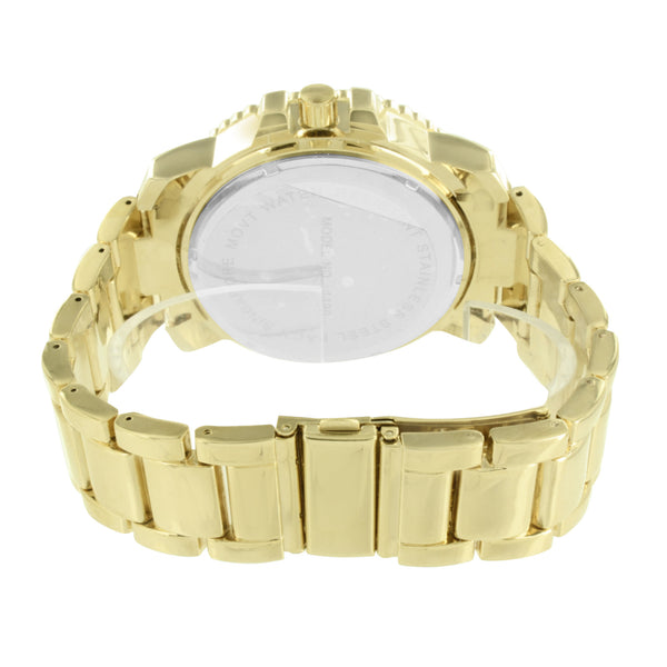 Mens Gold Finish Watch Jojo Jojino Joe Rodeo Metal Band Analog Shriner Dial CZ