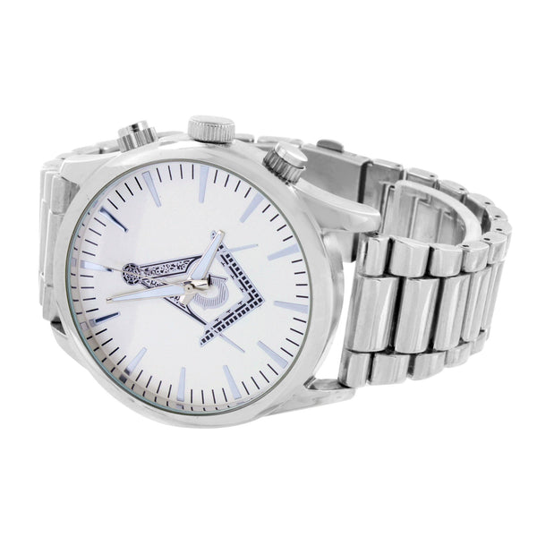 Freemason Masonic Dial Watch Mens White Gold Tone Water Resistant ST. Steel Mens