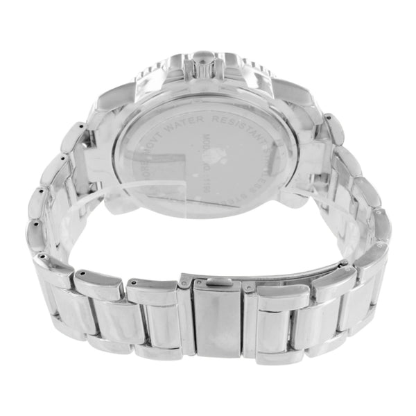 Mens White Watch Shriner Dial Metal Band Simulated Diamond Jojino Joe Rodeo Look