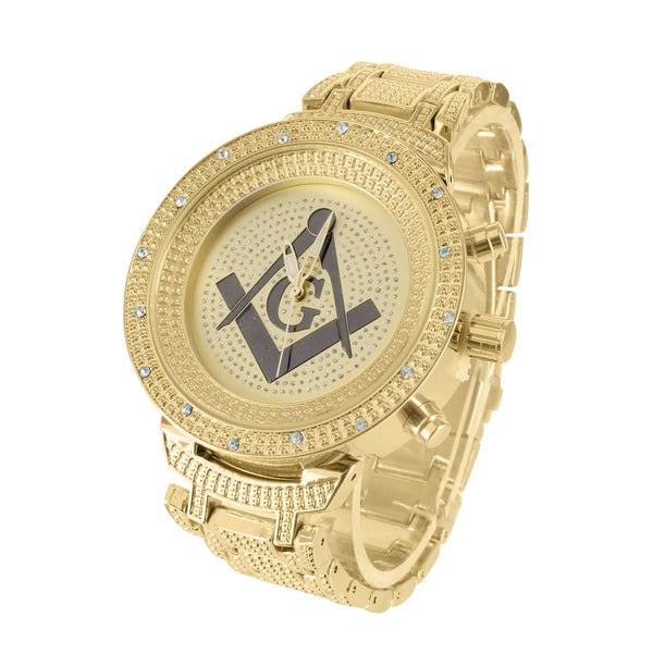 Mens Iced 14k Yellow Gold Finish Metal Band Watch