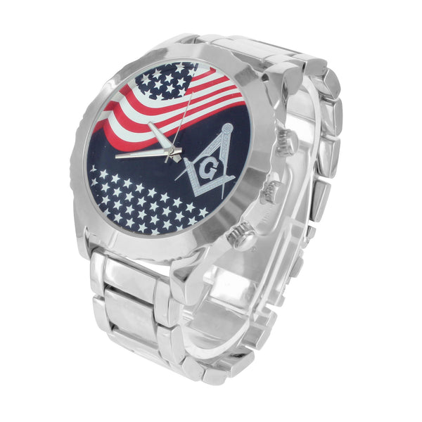 Presidential Band American Flag Masonic Dial Watch