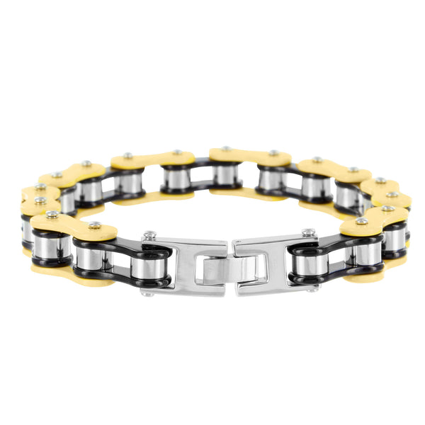 Tri Colored Mens Stainless Steel Bike Chain Bracelet