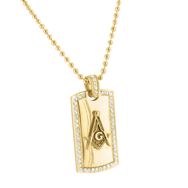 Masonic Symbol Dog Tag Charm With Chain