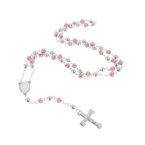 Pink & White Jesus Crucifix Chain Rosary in Stainless Steel
