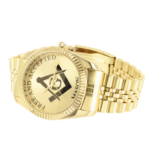Free & Accepted Mason Jubilee Band Yellow Gold Tone Watch