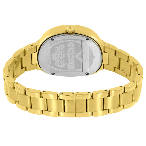 Gold Tone Aqua Master Watch Ladies Roman Numeral Dial Diamond Bezel
