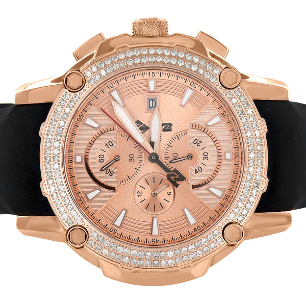 Stainless Steel Aqua Master Watch Rose Gold Tone Rubber Band Real DIamonds 48mm