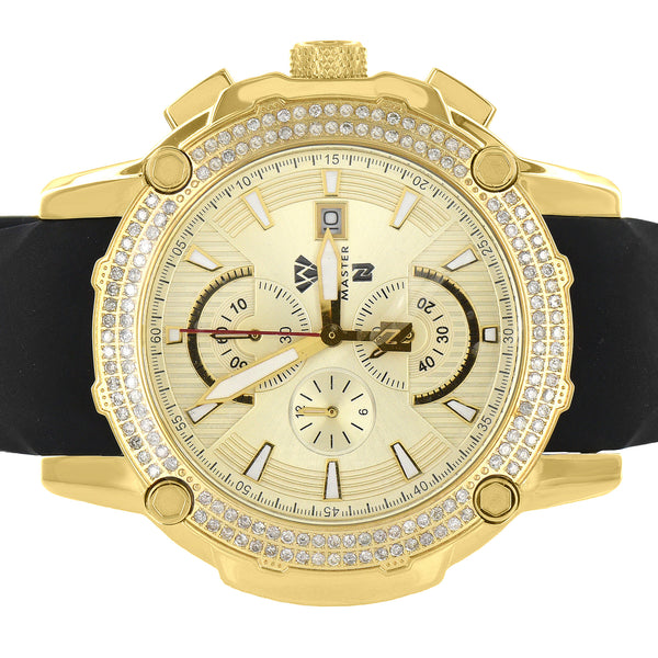 Gold Tone Watch Aqua Master Genuine Diamonds 1.60 Carat Rubber Strap 3 Timezone