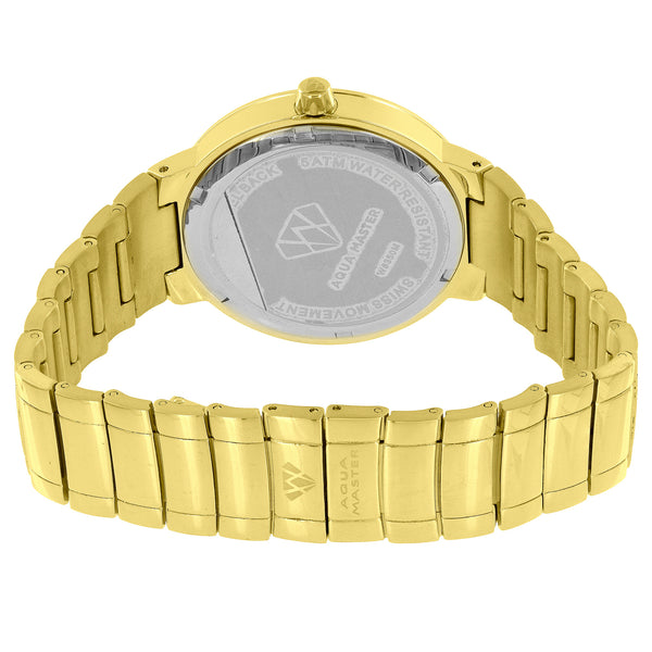 Aqua Master Watch Gold Tone MOP Dial Roman Numeral Dial 38mm Real DIamond 1.25ct