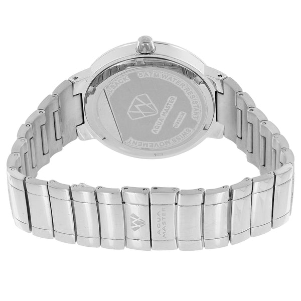 Diamond Aqua Master Watch Classy Roman Number Hour Dial Stainless Steel 1.25 CT
