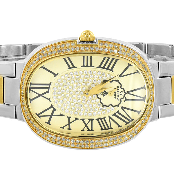 Ladies Oval Shape Watch Aqua Master Genuine Diamonds Roman Numeral Dial 2 Tone