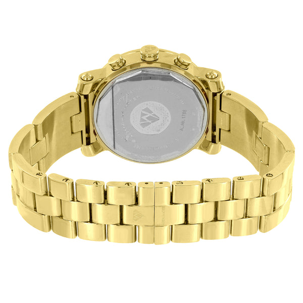 Gold Tone Watch Aqua Master Genuine Diamonds 3 Timezone Stainless Steel 1.75 CT