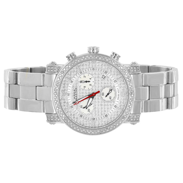 Stainless Steel Watch Analog Aqua Master Real Diamonds 1.75 CT Mens