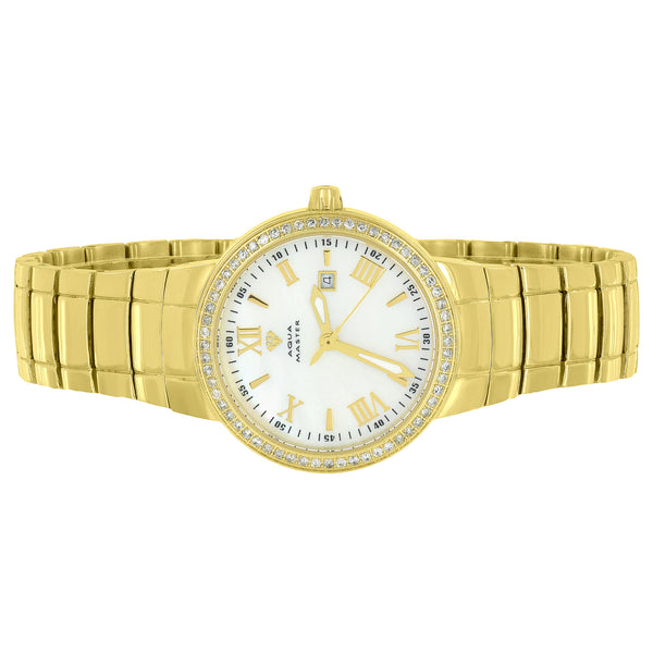 Gold Tone Ladies Watch Aqua Master Mother Of Pearl Dial Stainless Steel