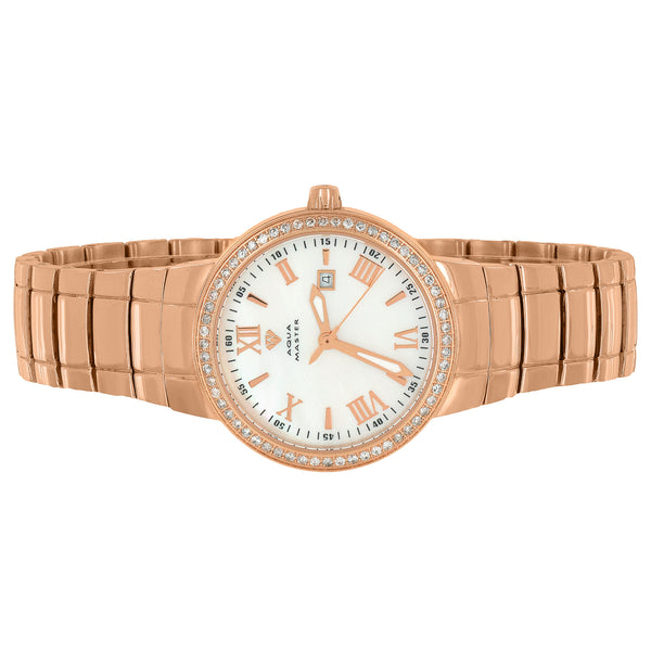 Rose Gold Tone Watch Mother Of Pearl Dial Roman Hour Mark Diamond
