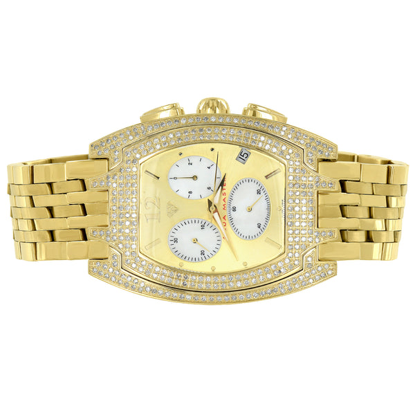 Stainless Steel Aqua Master Watch 3 Time Zone Real Diamonds Gold Tone 3.50 Carat