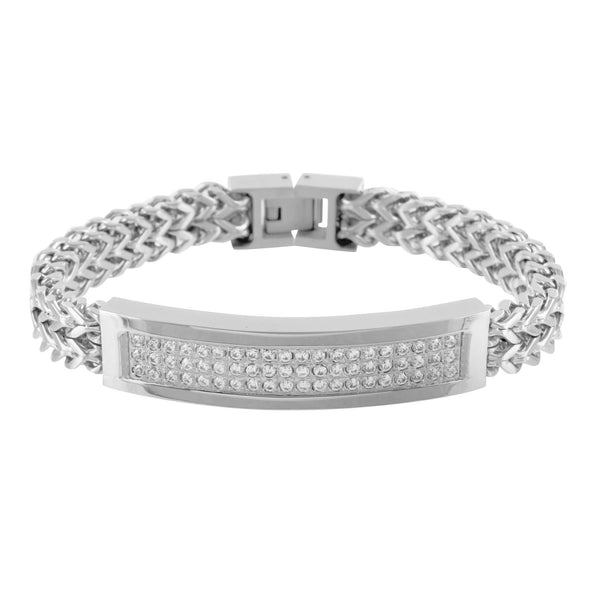 ID Style Franco Bracelet Mens Ladies 14k White Gold Tone Stainless Steel
