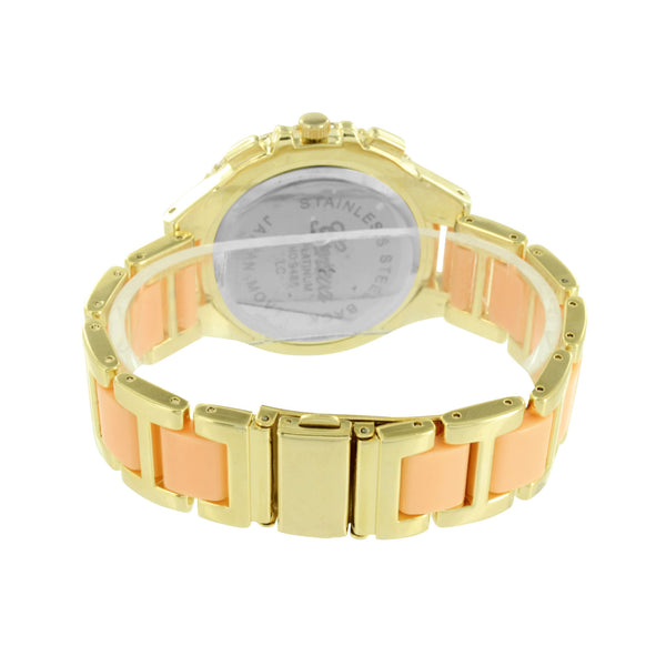 Pink Acetate Link Watch Simulated Diamond Bezel Womens Gold Finish Jojo Geneva