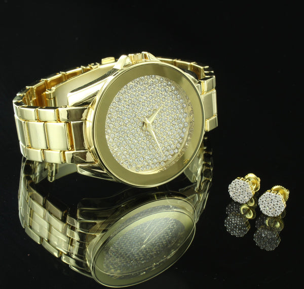 Mens Hip Hop  Watch Earrings Gift Set Cluster Set Simulated Diamonds New
