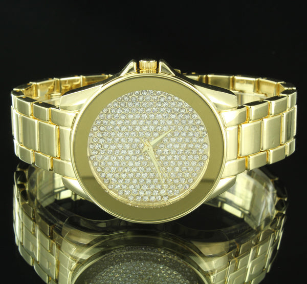 Mens Hip Hop Iced Out Watch Earrings Gift Set Cluster Set Simulated Diamonds New