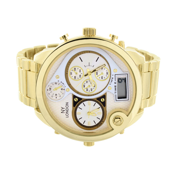 NY London Large Watch Analog Gold Tone Jojo Jojino Joe Rodeo Mens