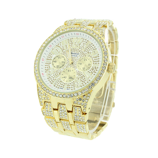 Iced Out CZ Watch Gold Finish Geneva Platinum Look
