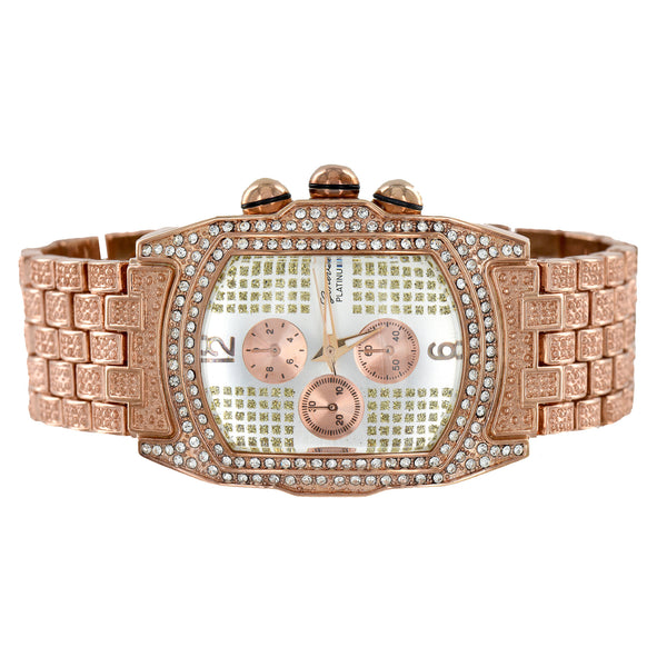 Rose Gold Finish Watch Rectangular Face 3 Time Zone Look