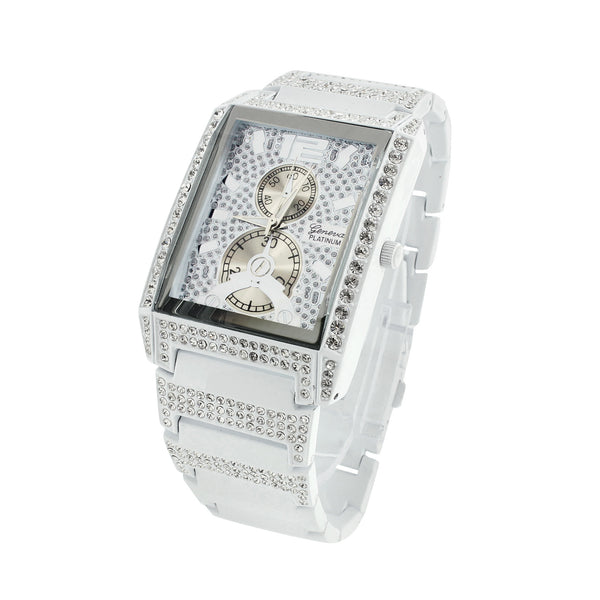 Mens Geneva Platinum Watch Iced Out Simulated Diamonds Rectangle Face Analog