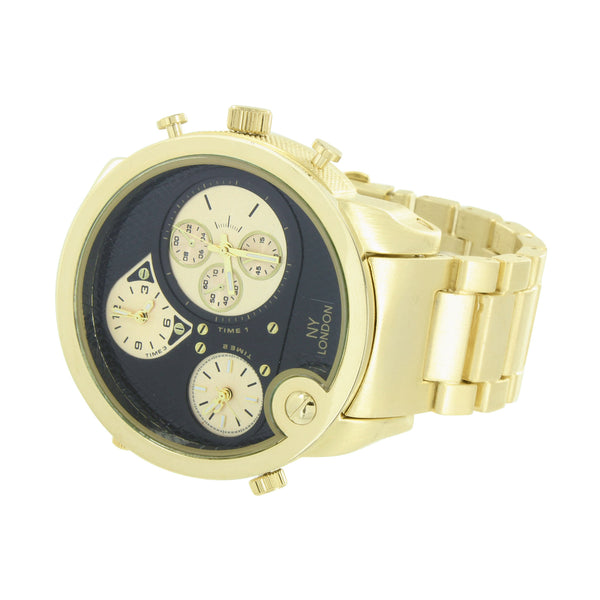 3 Time Zone Watch Yellow Gold Finish With Black Dial Designer Watch