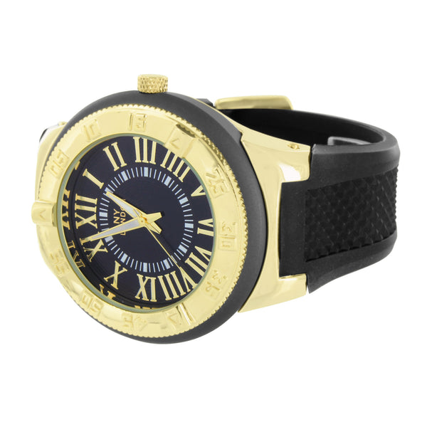 Gold Black Mens Watch NY London Analog Roman Numeral