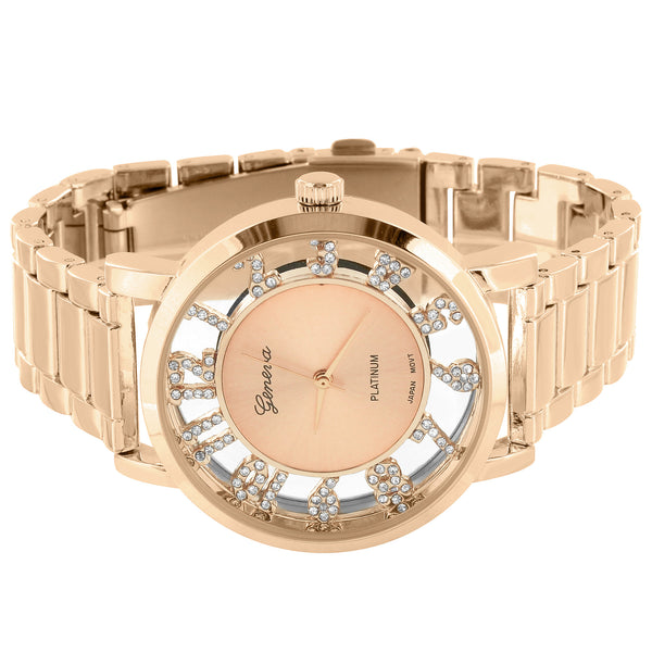 Women Rose Gold Tone Geneva WatchSimulated Created Diamond Round Face