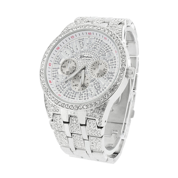 Mens  Watch White Simulated CZ Rhodium Finish