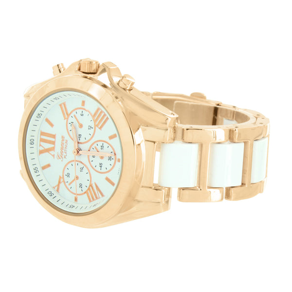 Rose Gold Womens Watch Geneva Platinum White Acetate Link Roman Dial Jojino