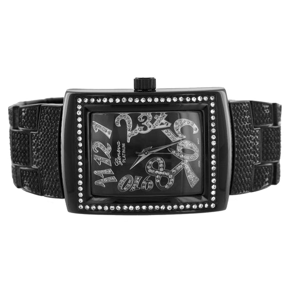 Mens Black PVD Watch Square Face Geneva