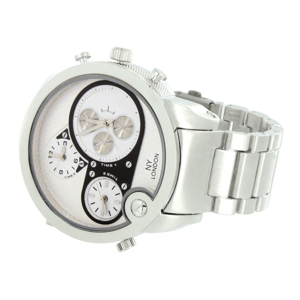 White Gold Tone Three Time Zone Watch Designer Wear