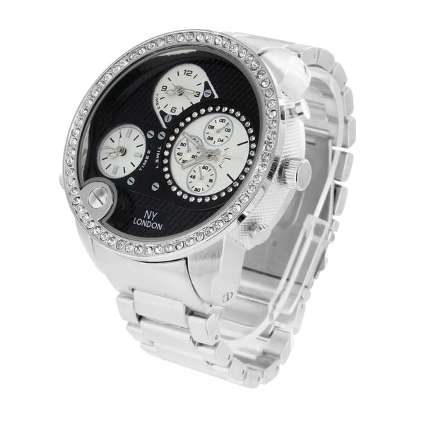 White Gold Tone Watch XL Big Black Dial Mens Lab Diamond