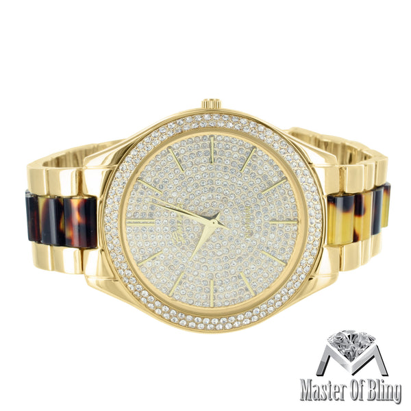 Tortoise Acetate Watch 14k Gold Tone Lab Diamond Ladies MK Style Watch