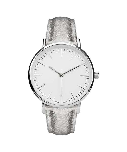 Women's Elegant Silver Watch Stainless Steel Back White Strap