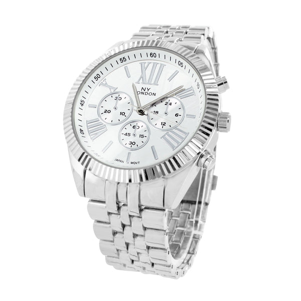 New White Gold Tone Watch NY London Mens Water Resistant