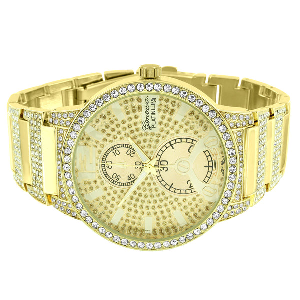 14k Gold Plate Watch Bracelet Hip Hop Men Full Iced Out Simulated Diamond
