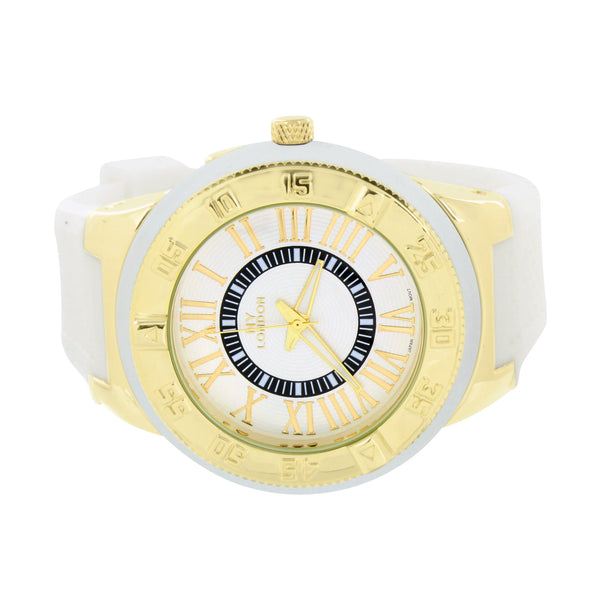Gold & White Watch Men White Rubber Band