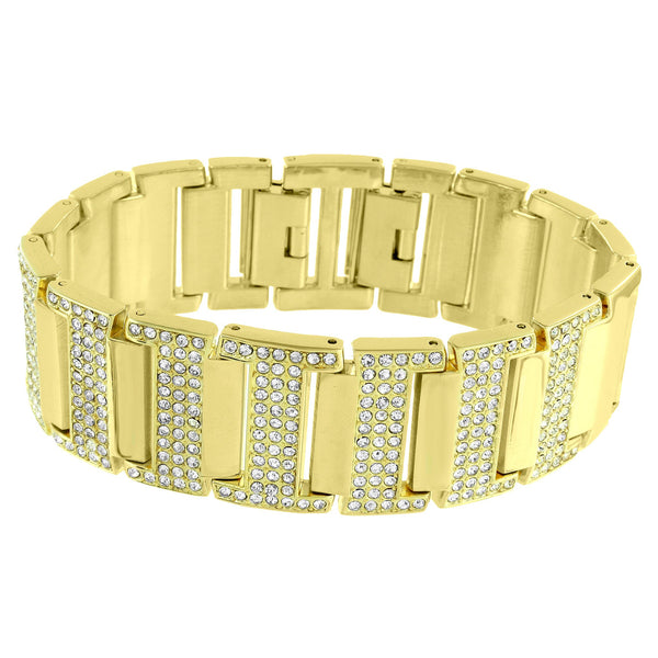 Hip Hop Mens  Watch Rectangle Face Rapper 14k Gold Tone Bracelet 38mm