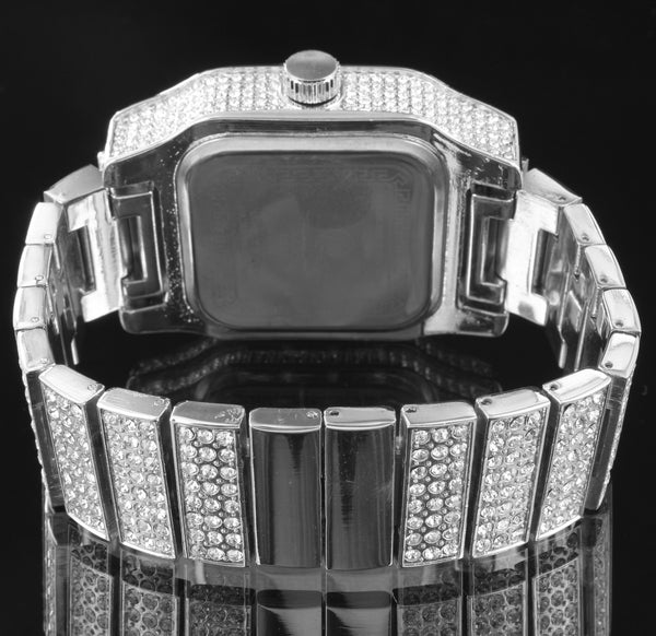 Men Hip Hop Iced Out Watch Earrings Set Simulated Diamond Silver Tone Rapper