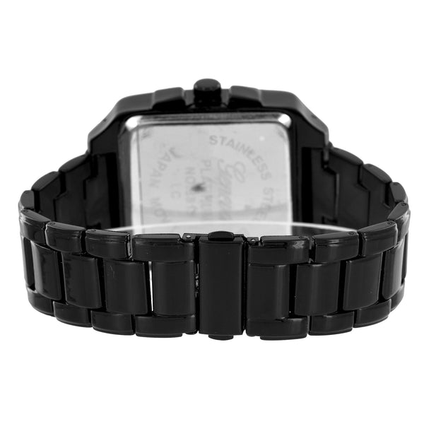 Princess Cut Square Watch Black Finish Gold Dial