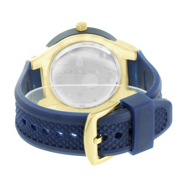 Gold Finish Men Watch Navy Blue Rubber Band NY London