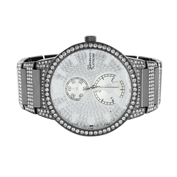 Mens Black Finish Watch Geneva Platinum CZ Stones