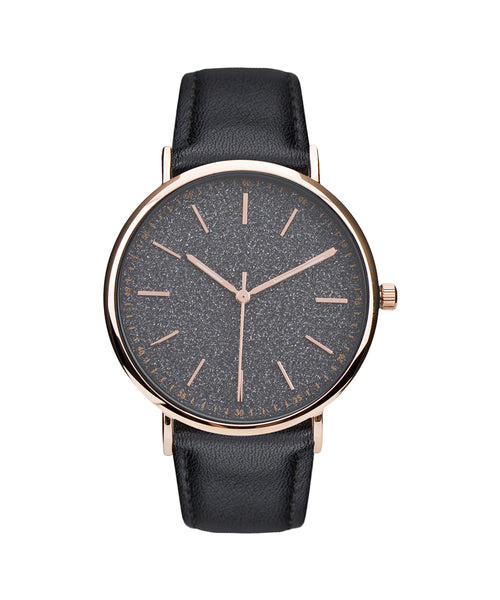 Women's Elegant 14k Rose Gold Finish Black Shimmer Dial Watch Leather Band