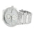 Mens Geneva Watch Round Face 3 Time Zone Look White Gold Finish